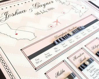Luxury Wedding Table Plan, How We Met, Travel/Destinations/Places Inspired Seating Plan/Seating Chart