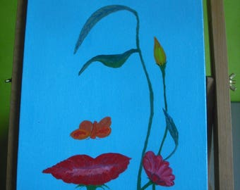 """Painting acrylic painting """"A woman in flowers"""""""