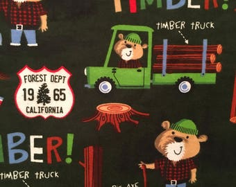 Teddy Bear Fabric, 100% Cotton Flannel, Forestry Fabric, Boy Fabric, Quilting Fabric