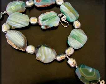 MELLOW MY MIND ~ Green Brazilian Agate, Sterling SIlver Necklace