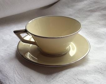 Art Deco Coffee Cup and Saucer or Demitasse - Bohemia Royal Ivory Czechoslovakia 'Modern'