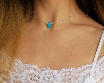 Gold/silver turquoise bead drop necklace