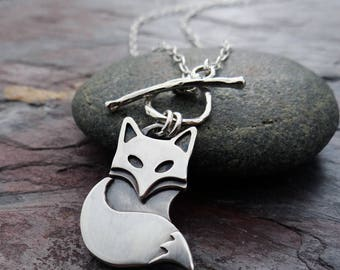 Silver Fox Pendant || hand fabricated sterling silver pendant || nature inspired metalsmith jewelry (4558)
