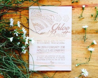 Wedding invitation - Timber wedding invitation - Arrow & Heart Designs - Pack of 10