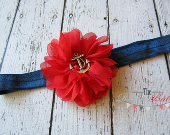 Red & Navy Blue Anchor Headband -  Nautical - Newborn Infant Baby Toddler Girls Adult