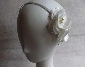 Ivory Headband with Flower Duo in Ivory Brocade