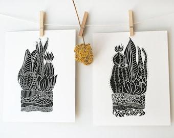 Botanical Illustration Prints, Bohemian Home Decor, Cactus Print, Boho Apartment, Wall Art Set, Art Print Set