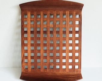 Denmark Teak Lattice / Grid Large Teak Wood Tray, Mid Century Modern