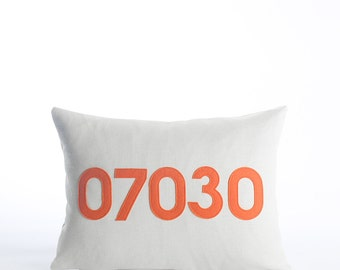 "custom zip code pillow 10""x14"" - felt applique throw pillow"