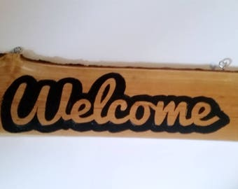 Primitive Welcome Sign, Natural Edge, Welcome Sign, Carved Wood Sign, Carved Welcome Sign, Handcrafted Sign, Outdoor Sign