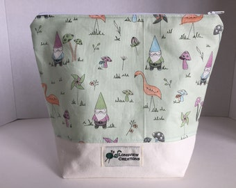 Knitting Project Bag, Wedge Bag, Zippered Bag, Sock Size, Gnomes, green background