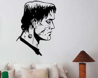 Frankenstein Head Vinyl Decal Wall Sticker Gothic Scary Monster Art Decorations for Home Housewares Living Dorm Room Horror Decor frk4