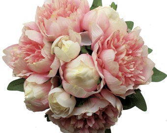 Pink Peony Bouquet for Bridesmaid - Silk Peony Wedding Bouquet