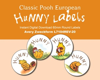 60 mm Round Winnie the Pooh Honey Labels