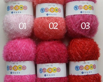 Eco-Friendly Scrubber Yarn / Eyelash Susemi Yarn / Handmade Dishwash Scrubbies Yarn / Korea Scrubby Yarn / Polyester 100%