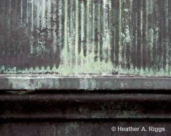 Green Watermarks on Gray Metal, Abstract, photograph