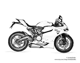 Superbike Motorcyclist Gift Ducati Gifts Ducati Ducati Print Gift Men Motorcycle Gift Men Custom Drawing Motorcycle Gift Men Motorcycle Art