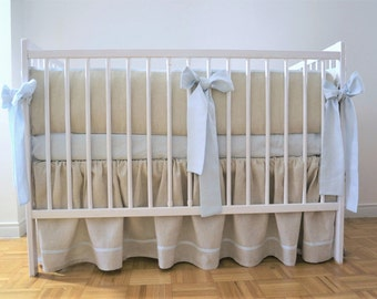 Linen Crib  bedding 3 pcs - gathered skirt , 4 side bumper and fitted sheet