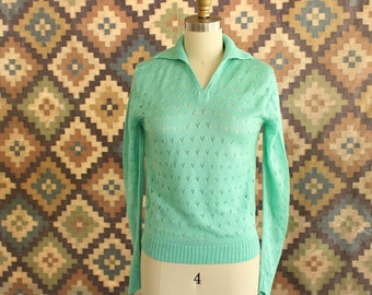 mint green pointelle sweater . vintage 1970s sweater, lightweight pullover . acrylic sweater . 70s 80s