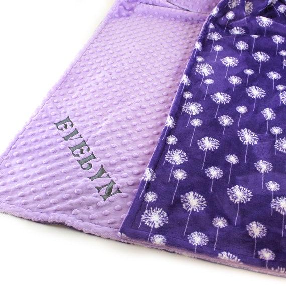 Kids Minky Blanket, 48 x 60 Gray Purple Floral Blanket, Toddler Blanket, Minky Blanket Girl, Personalized Blanket, Dandelion Blanket, Throw
