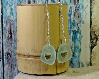 White Heart Drop Earrings Sea Glass Earrings Beach Wedding Beach Glass Earrings Long Earrings Silver Chain Earrings