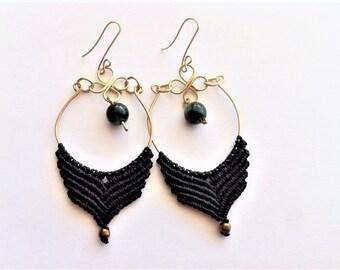 bohemian earrings,macrame earrings,hoop earrings,gypsie earrings,gift for her,tribals earrings,black earrings,Macrame jewelry,Black earrings