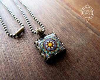 Geometric tile necklace, Islamic jewelry, Bohemian charm, Islamic tile design, Handmade, Folk art, Middle Eastern