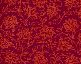 """Floral Table Runner on Red. Autumn Table Runner. Red Runner. 84"""" Table Runner. Year 'Round Runner."""