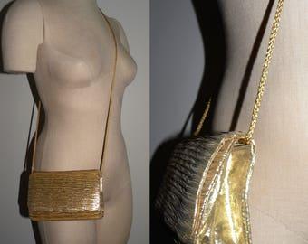 """1970s La Regale GOLD Fortuny Pleat Shoulder Bag Purse / Disco Era Evening Bag  7"""" x 5"""" tall x 2"""""""