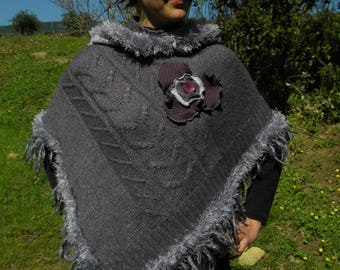 Purple and grey short poncho with hood patchwork spring fashion