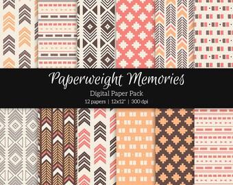 "Digital patterned paper - Tribal Aztec Pink -  digital scrapbooking - patterned paper - 12x12"" 300dpi  - Commercial Use"