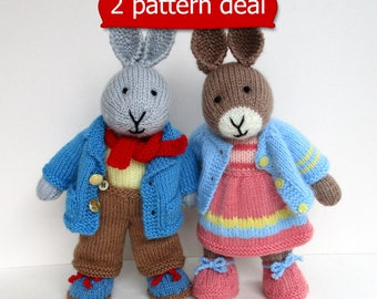 2 PATTERN DEAL - Father Bunny and Mother Bunny - rabbit doll knitting patterns - PDF instant downloads