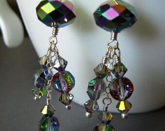 Chandelier Earrings, Vitrial Swarovski Crystal on Sterling Silver, Hand Crafted Dangle Earrings, Evening Wear Jewelry
