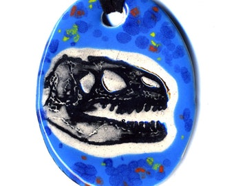 Dinosaur Ceramic Necklace in Bright Spotted Blue