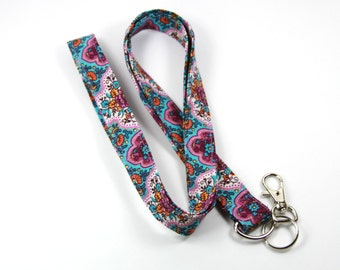 PURPLE Fabric lanyard, Fabric Badge Holder, Purple Badge Holder