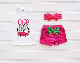 One In A Melon Outfit Pink, Watermelon Birthday, Baby's First Birthday, Summer Birthday Outfit, Sequin Shorts, Watermelon First Birthday
