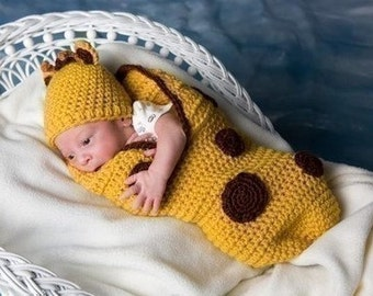 Giraffe Cocoon/Papoose and Hat Set and more crochet pattern pdf 228