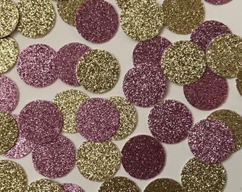 Gold and pink glitter confetti