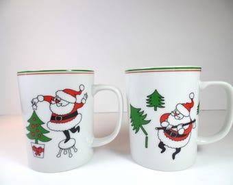 Vintage Fitz & Floyd Santa Mugs - Fitz Floyd- Fitz and Floyd Santa Mugs - Santa Mugs - Christmas - Fitz  Floyd Mugs - Christmas Mug - FF