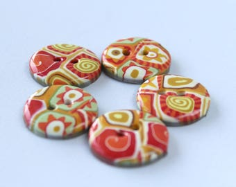 Polymer clay buttons-handmade buttons-set of buttons-flower button-sweet buttons-orange buttons-gift for mom-grandmother-sister-mother's day
