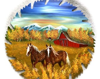 Hand Painted Saw Blade Fall  Red Barn and Clydesdale Horses