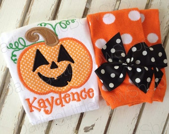 Pumpkin outfit for baby girls -- Happy Jack O Lantern -- orange polka dot bodysuit and leg warmers