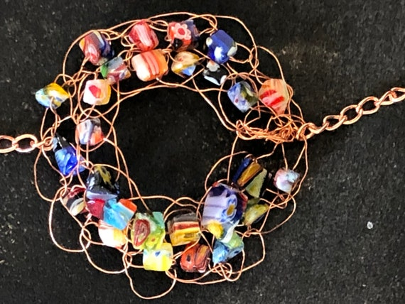 SJC10317 - Bracelet - one copper wire crochet ring with multicolor glass beads and copper chain