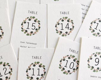 Minimalist Eucalyptus Wreath, Wedding / Reception / Event Table Escort Cards, Seating Chart