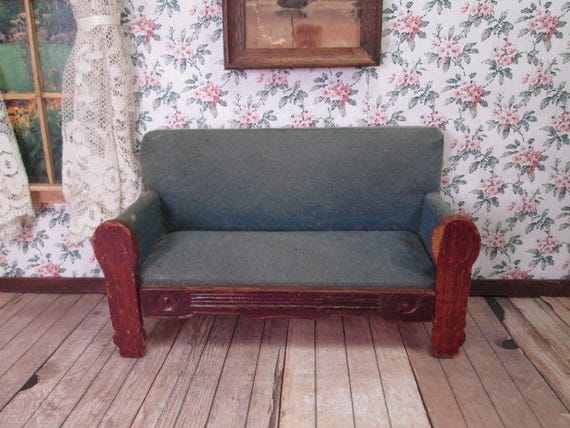 antique dollhouse furniture settee sofa made in germany. Black Bedroom Furniture Sets. Home Design Ideas