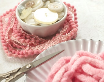 "BALLERINA hand-dyed Chenille Plush Pom Pom Trim or 9/16"" Ribbon : continuous yards pink rose Lady Dot Super Soft Finishing notion"