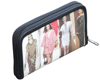 Medium zip wallet using fashion magazine paper - FREE SHIPPING, gift for her, vegan wallet, Upcycle wallet Card zipper wallet, Mom gift