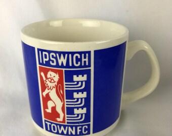Vintage Ipswich Town FC Futbal cClub Soccer Ceramic Coffee Cup Mug Made by Carrigaline Republic of Ireland