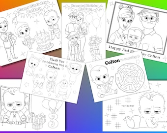 Boss Baby Birthday Party favor, Boss Baby coloring pages, PDF file