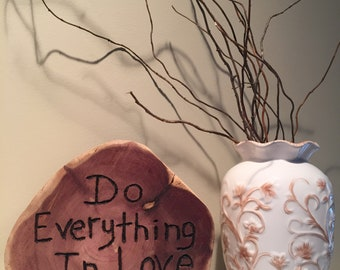 Rustic Wedding Decor Wood Carved Tree Slab Inspirational Bible Love Verse-Home -Gift